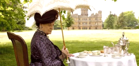 Maggie Smith as Downton dowager at tea