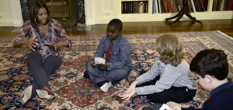 Michelle Obama and kid reporters
